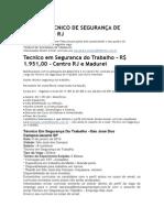 VAGA DE TECNICO DE SEGURANÇA DE TRABALHO