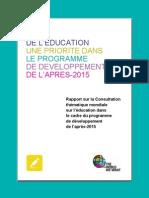 Définir la place de l'éducation dans le programme de développement de l'après-2015