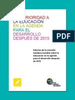 VISIÓN DE LA EDUCACIÓN EN LA Agenda PARA EL DESARROLLO DESPUÉS DE 2015