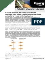 Reliability of Parallel Redundant UPS