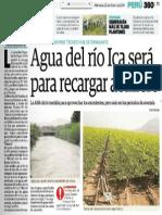 Agua del río Ica será para recargar acuífero