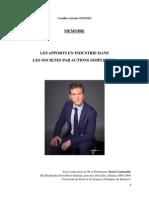 Memoire Les Apports en Industrie Dans Les SAS de Camille Antoine Donzel