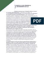 BENEDICTO XVI INVITA A LOS JÓVENES A REDESCUBRIR EL SACRAMENTO DE LA CONFIRMACIÓn