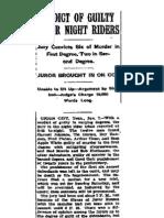 Reelfoot Lake Night Riders - New York Post - January 9, 1909 - Verdict
