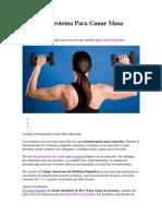La Mejor Proteína Para Ganar Masa Muscular