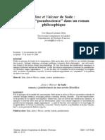Aline Et Valcour de Sade - Science Et Pseudoscience Dans Un Roman Philosophique
