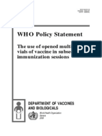 WHO Policy Statement- The Use of Opened Multi-dose Vials of Vaccine in Subsequent Immunization Sessions