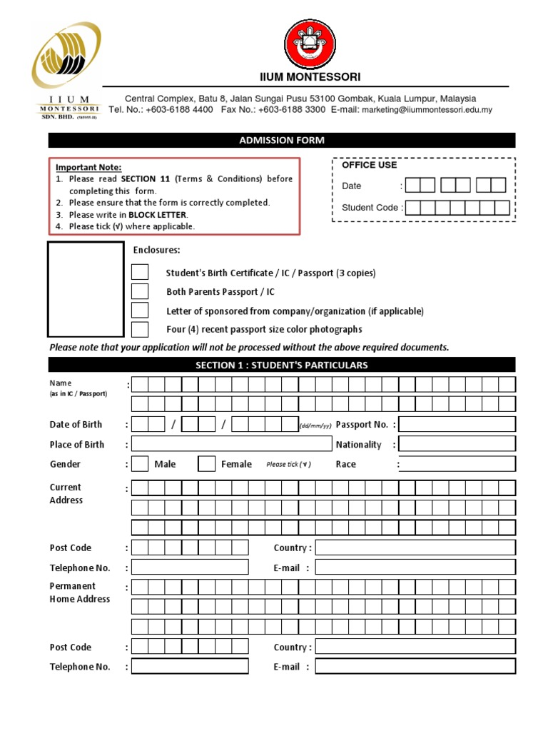 Iium Montessori Registration Form Cheque Fee