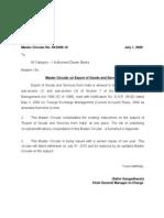 RBI Master Circular Export Goods and Services