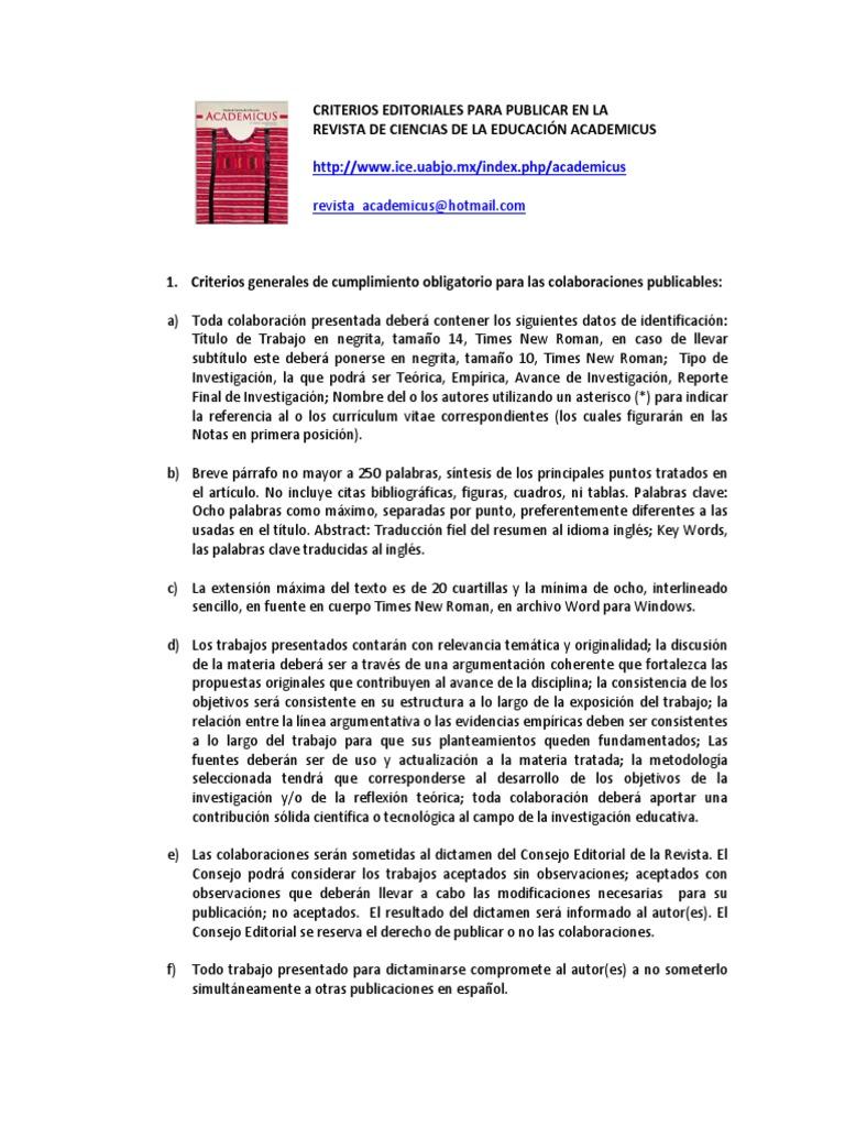 Criterios Editoriales Revista Academicus ICEUABJO