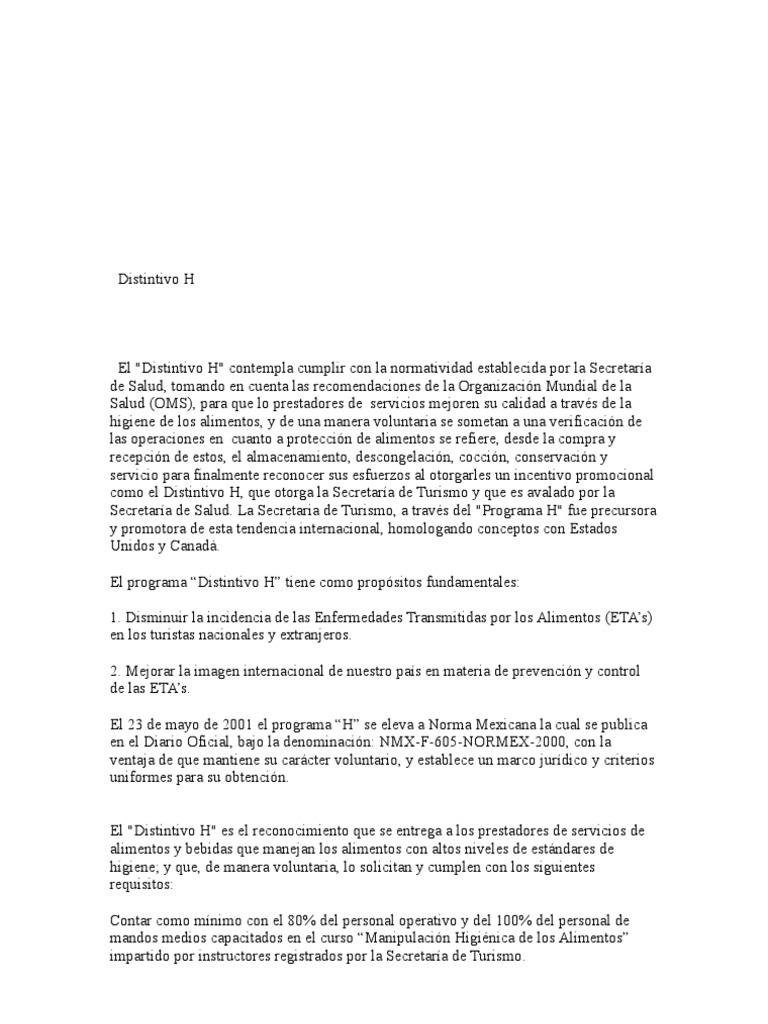 Distintivo h for Equipo mayor y menor de cocina pdf