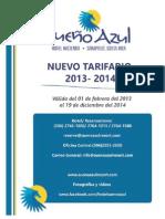 SUEÃ'O AZUL Tarifario 2013-2014