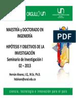 Charla Hipotesis y Objetivos HAlvarez02 2013