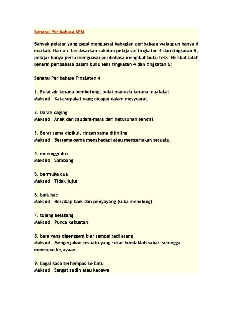Senarai Peribahasa Spm