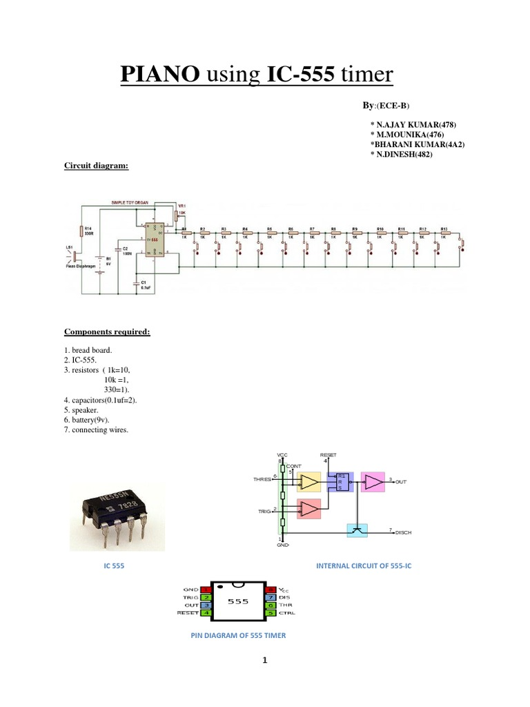 Piano Using 555 Timer 1 Electronic Circuits Electrical This Is A Simple Noise Generator Circuit An Ic