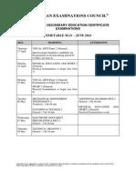 CSEC Timetable - May - Jun 2014