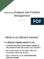 Lec 7 Security Analysis and Portfolio Management