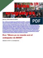 Noticias Uruguayas Jueves 23 de Enero Del 2014