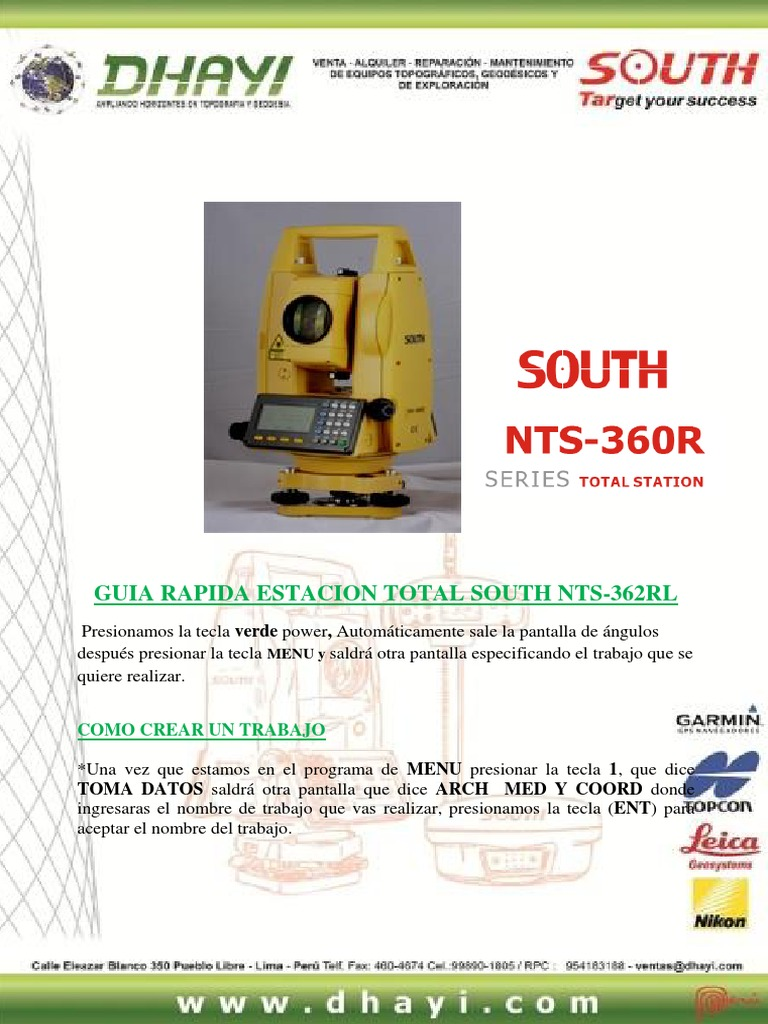 manual de estacion total south en español pdf
