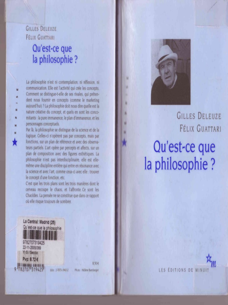 Gilles Deleuze Felix Guattari Qu Est Ce Que La Philosophie 1991