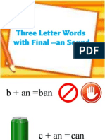 Three-Letter Words with Final -an Sound