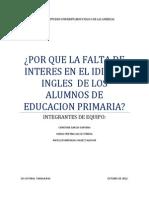 Porque La Falta de Interes en La Materia Ingles en Educacion Basica