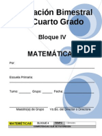 Plan - 4to Grado Bloque IV - Matem Ticas