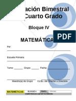Plan - 4to Grado Bloque IV - Matem Ticas