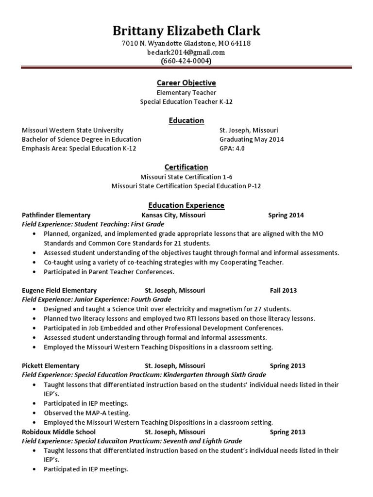 Brittany Clarks Resume Special Education Teachers