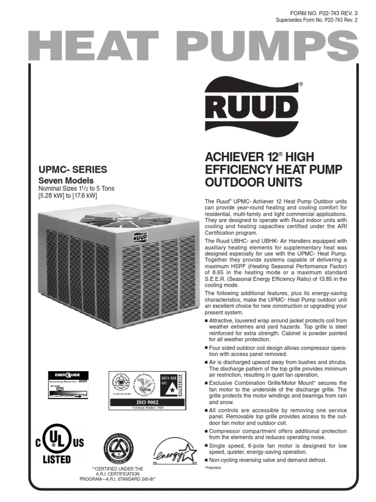 Ruud UMPC Series Manual | Heat Pump | Thermostat