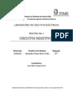 Practica 1 Circuitos Resistivos; Alejandro Reyes Mat 1646566