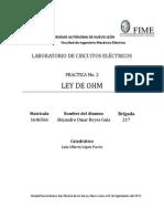 Practica 2 Ley de Ohm; Alejandro Reyes Mat 1646566