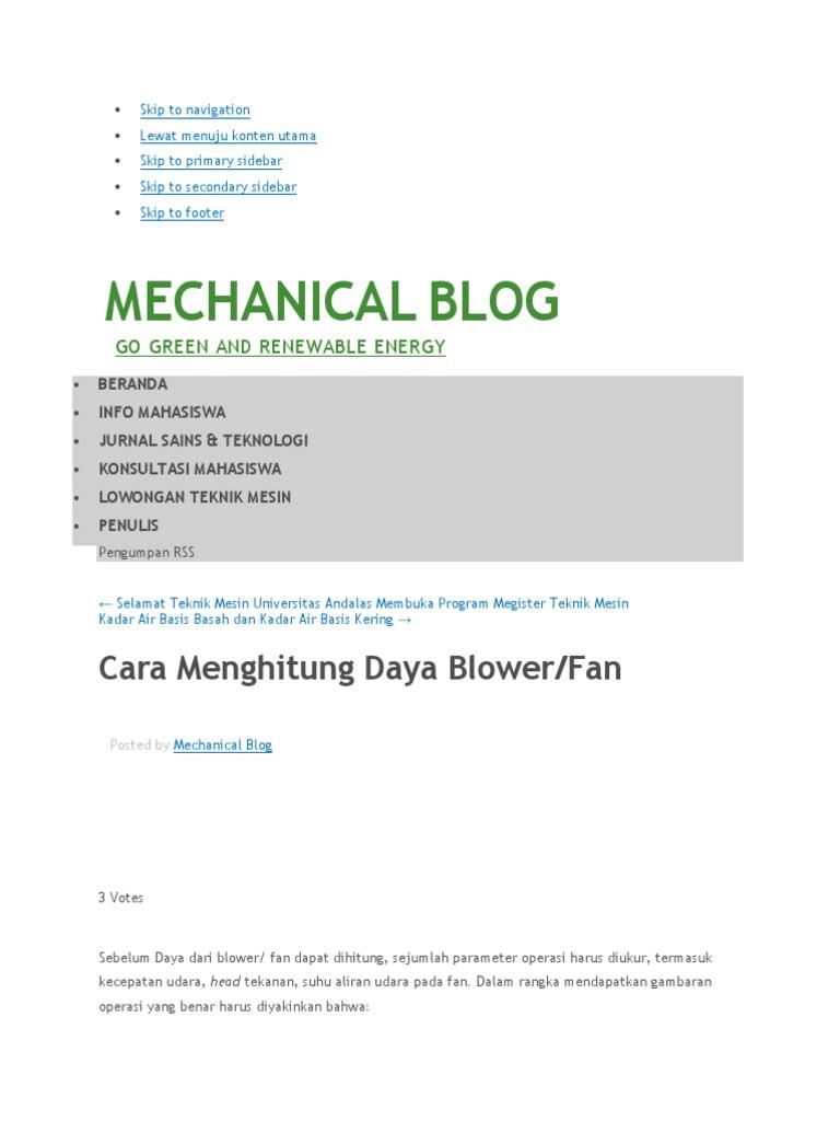 Cara Menghitung Daya Blower Fan Mechanical Blog