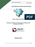 MDFe Nota Tecnica 2012 002