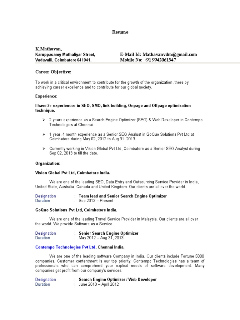Mathavan Senior Seo Analyst Resume 3 Years Experience Search