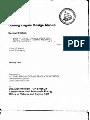 Stirling Engine Design Manual | Internal Combustion Engine