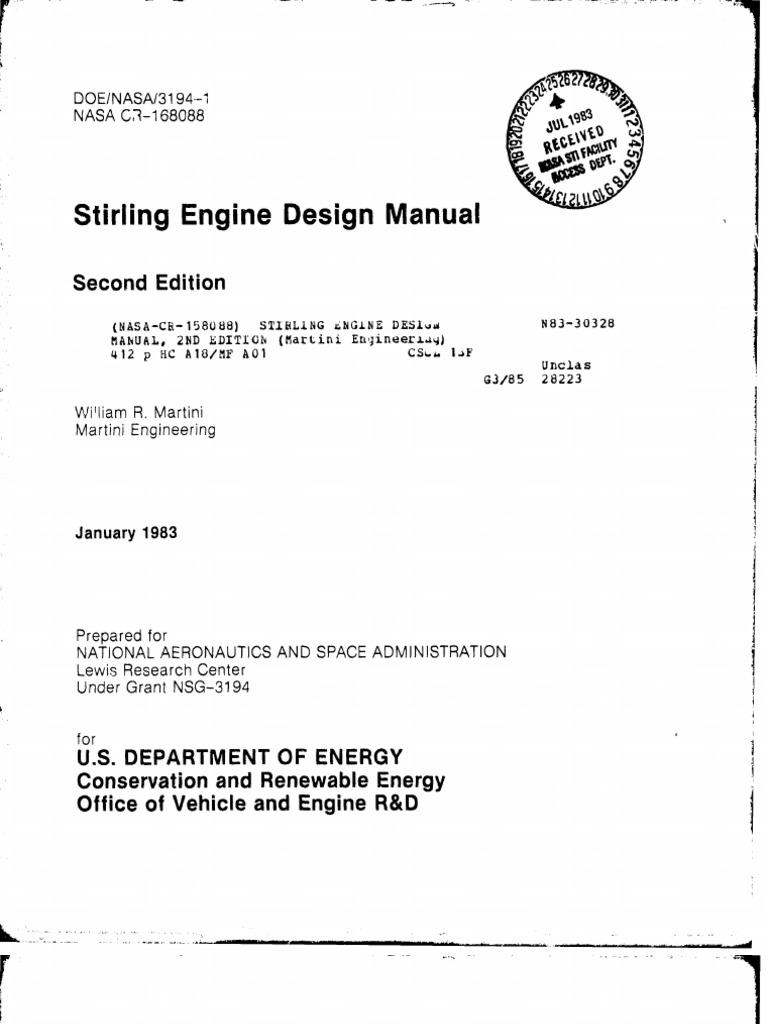 Stirling Engine Design Manual | Cylinder (Engine) | Internal ...