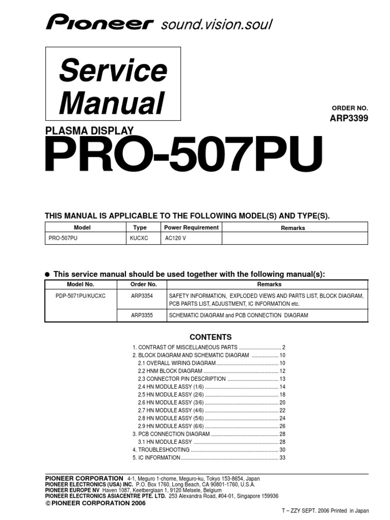 e0c7cedd33dd Pioneer Pro-507pu Series Parts List, Service Manual No Schematics | Ip  Address | Electrical Connector