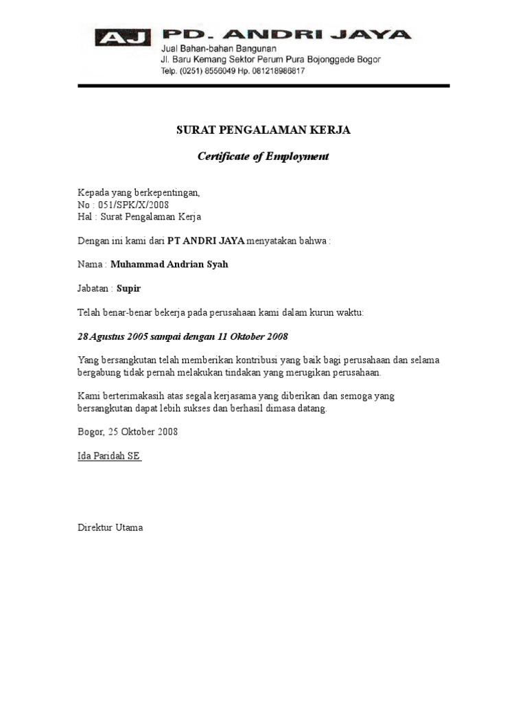 Contoh Surat Keterangan Kerja Untuk Kantor Imigrasi Surasm