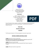 Medford City Council regular meeting agenda January 28, 2014