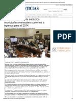 23-01-2014 'Aprueban Entrega de Subsidios Municipales Mensuales Conforme a Egresos Para El 2014'