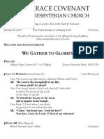 Worship Bulletin January 26, 2014