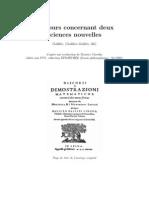 Galilée - Discours concernant deux sciences nouvelles - Extraits français - 42p - extraitDiscoursGalilee