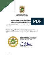Certificado de Registro - AppleCare Service Company, Inc.