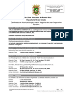 Certificado de Autorización para hacer negocios - AppleCare Service Company, Inc.