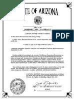Registro de corporación, Estado de Arizona - AppleCare Service Company, Inc.