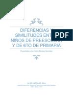 Diferencias y similitudes entre niños de preescolar y de 6to de primaria