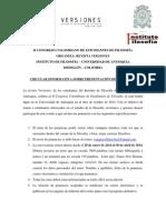 Circular informativa sobre el envío de ponencias_II Congreso Colombiano de Estudiantes de Filosofía_Revista Versiones1