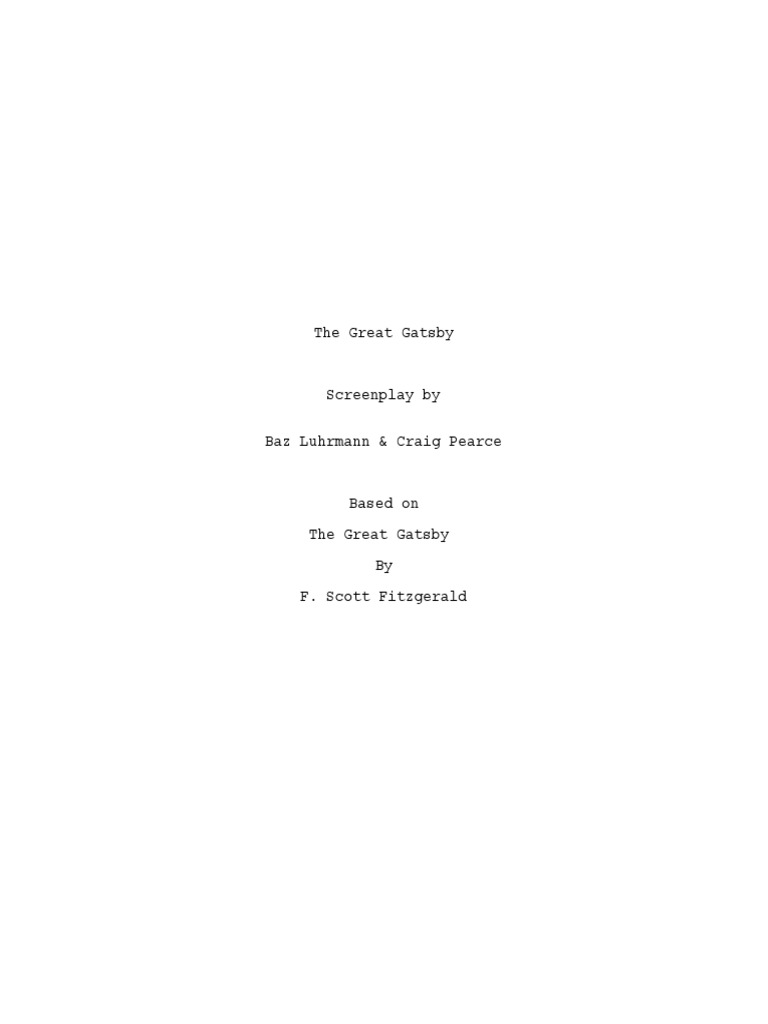 Great Gatsby script | The Great Gatsby | Leisure