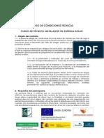 Pliego de Condiciones Tecnicas. Curso de Tecnico Instalador en Energia Solar
